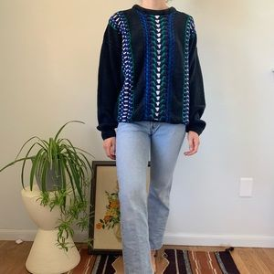 Vintage 80s 90s Ribbed Textured Knit Sweater